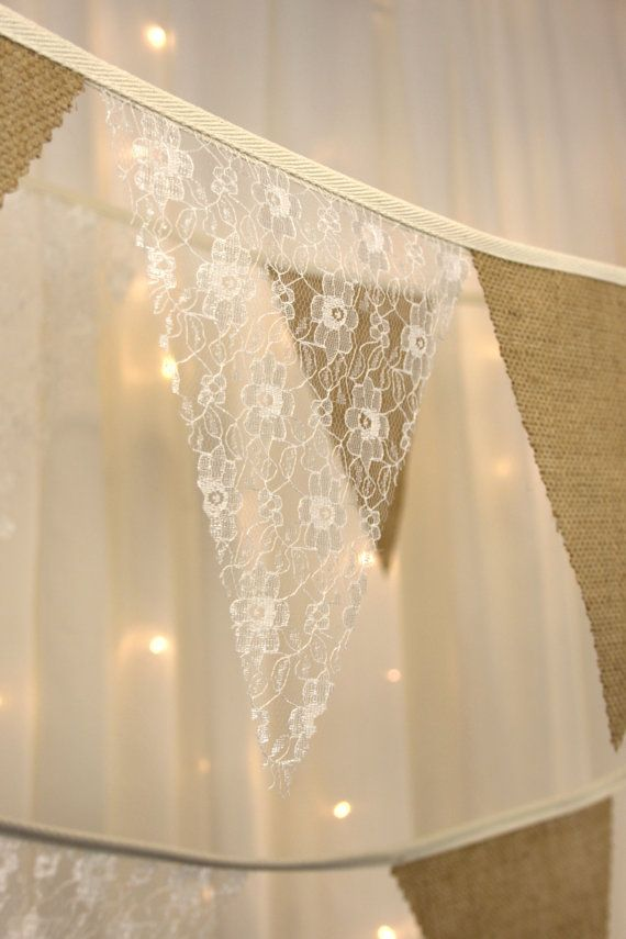 Hessian & ivory lace wedding bunting banner 34ft by Dollyblue11