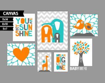 Lila y menta vivero estirada lienzo arte por babyartprints en Etsy