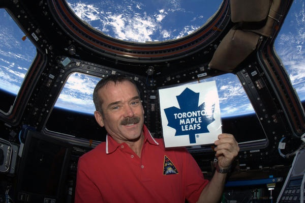 Not crazy about his choice of team, but I am a wild fan of his!   - With the lockout finally ending and a 50-game NHL season about to begin, I am ready to cheer from orbit. Go Leafs!