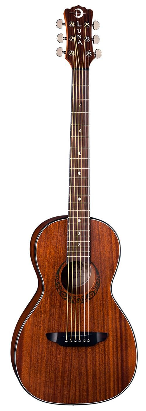 Luna Gypsy Mahogany Parlor Guitar. It  is surprisingly elegant looking at its price tag. Its compact shape, nice looking wood grains and celtic rosette all blend together nicely resulting in a very presentable instrument that looks far more expensive than it actually is. Street Price: $179.  For a detailed guide to Parlor Guitars see https://parlor.guitars/blog/roundup-best-parlor-guitars
