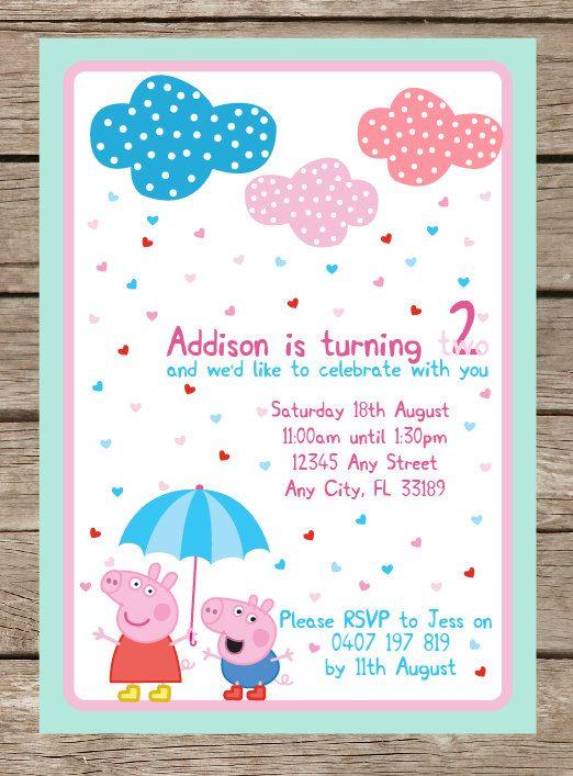 Peppa Pig Inspired Birthday Party Printable Invitation -- Invite. $15.00, via Etsy.