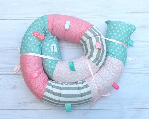 Turquoise and Pink Baby Crib Bumper / Baby by OfrazArt on Etsy