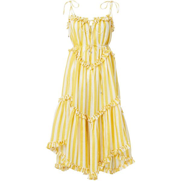 Zimmermann Lumino Striped Floating Dress (45.205 RUB) ❤ liked on Polyvore featuring dresses, vestidos, zimmermann dress, striped linen dress, linen dress, stripe dresses and zimmermann