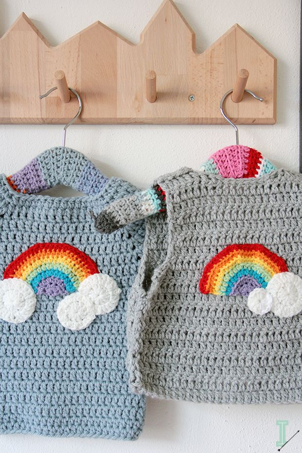 Crochet baby sweater and vest clouds and rainbow