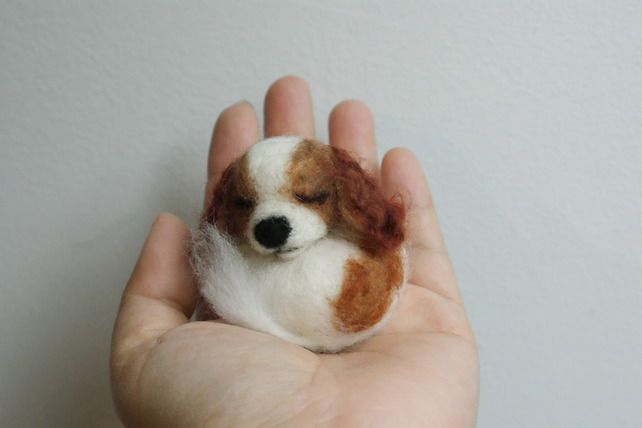 needle felted sleeping little dog Cavalier King Charles Spaniel brooch ,pin,doll £21.00