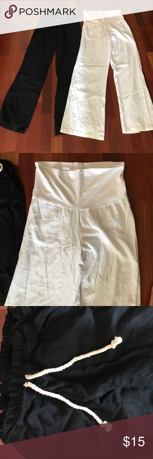 Pair of black and white linen pants ! Black linen drawstring pants and white wide leg linen pants that fold over !  Both worn twice❤️ Pants Wide Leg