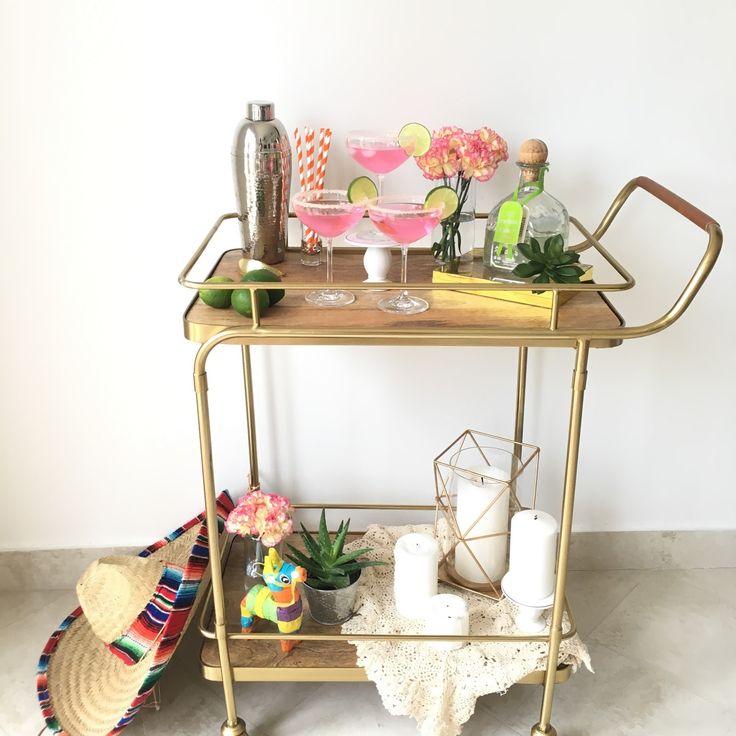 Cinco de Mayo Party Bar Cart with Pink Margaritas