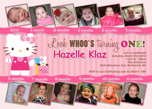 32 best hello kitty birthday cards images on pinterest homemade hello kitty pink 12 photos first birthday custom birthday invitation stopboris Image collections