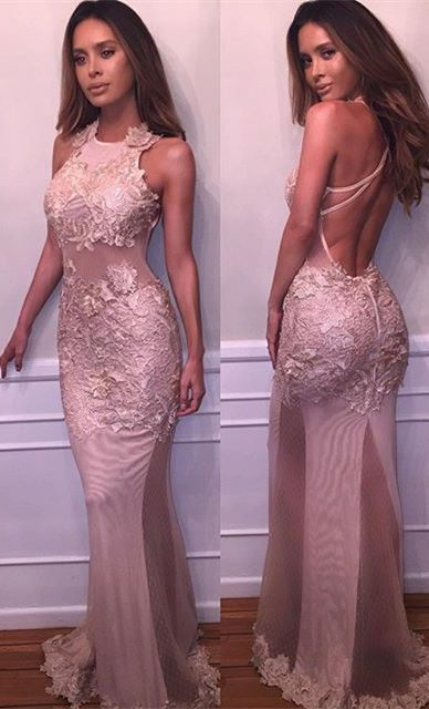 2017 Sheer sexy mermaid backless prom dresses_lace appliques evening gowns
