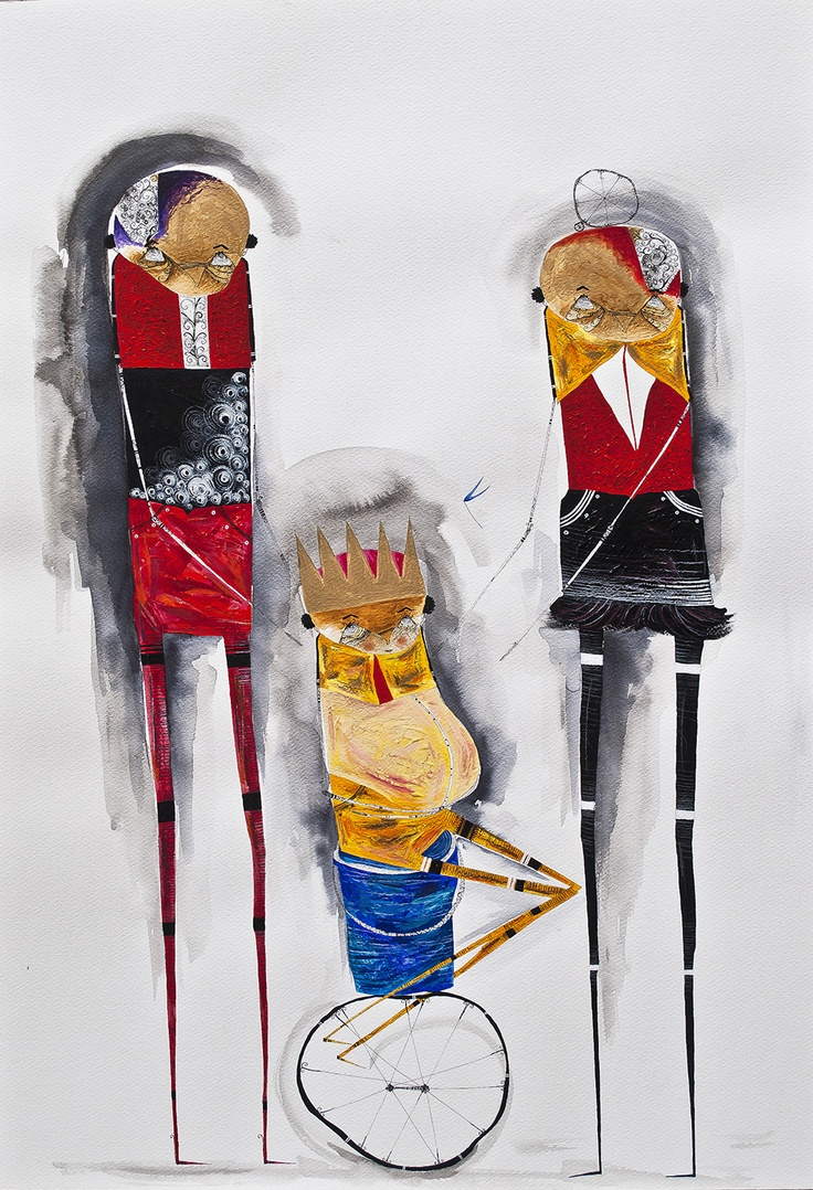 "Juan Carlos Vazquez Lima, ""Retratro de familia (Family portrait),"" 2012, Ink & acrylic on paper"