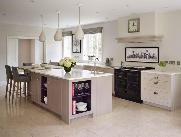 A Harvey Jones Shaker Kitchen Handpainted In Farrow U0026 Ball U0027Elephants  Breathu0027, U0027
