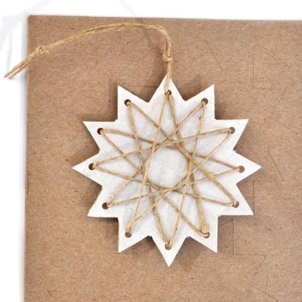 Christmas craft idea - paper stars with string threading
