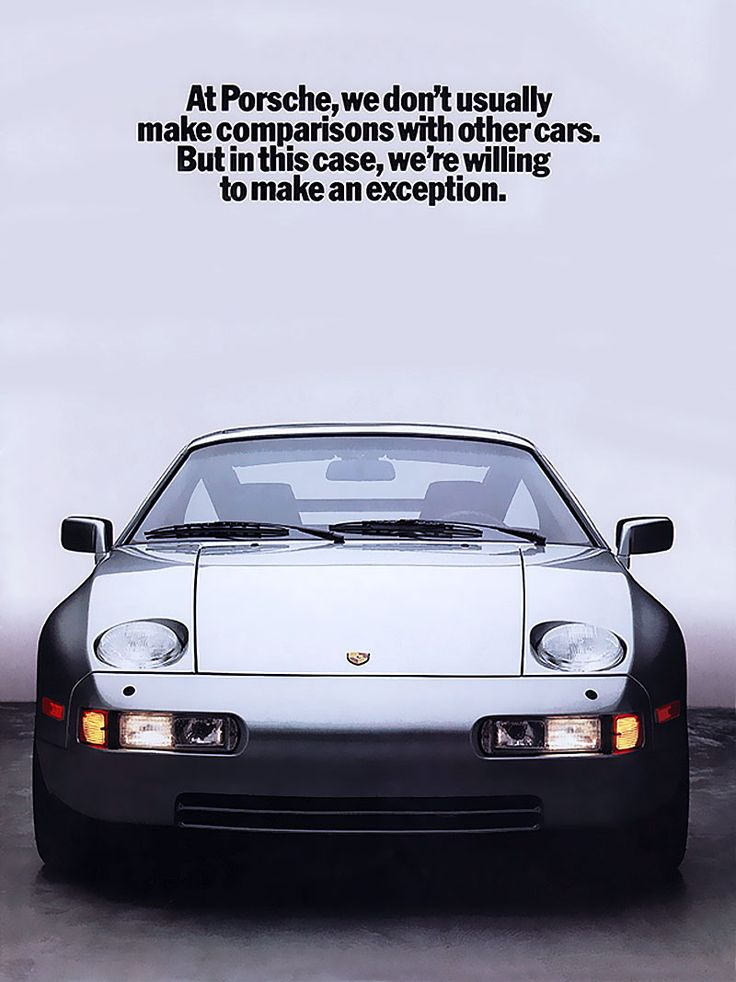 Porsche 928 (1986) – What a great designed car. #Porsche #Eighties #Advertising #ClassicCar #GermanEngineering
