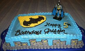 Homemade Batman Birthday Cake: My son wanted a Batman birthday cake but I didn't want a cake decorated with black frosting- yuck! This is what I came up with. I have also made it with