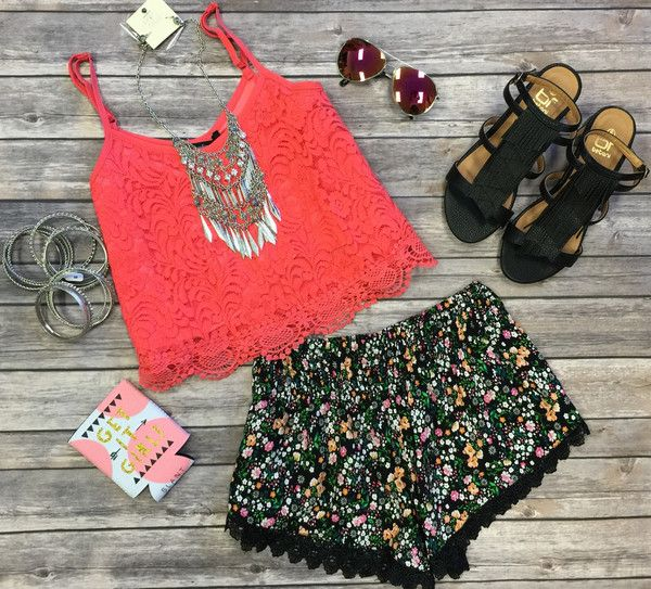 The Floral Frenzy Shorts are fabulous for the warmer months! These cuties feature an elastic waistline, lace hemline, and all over floral print! They are lightweight and look fabulous out and about!