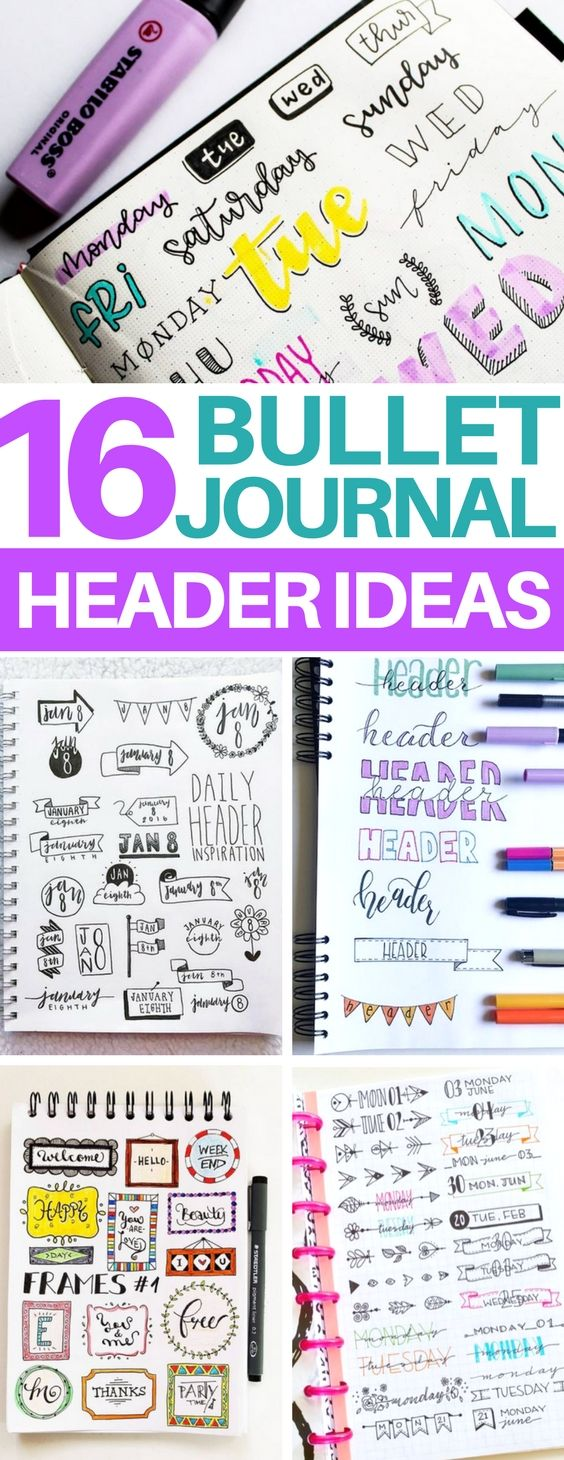 OMG! This is exactly what I was looking for - a list of tons of bullet journal header ideas including banners, ribbons, dates and titles! I am definitely going to be using these in my new bullet journal layout ideas! #bujo #bulletjournal #organization