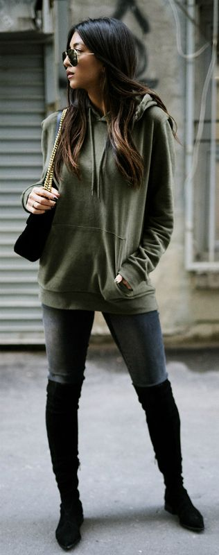 venture out in a hoodie this fall + stripped back look + Kayla Seah + relaxed and confident + stylish khaki hoodie + over the knee boots + standard grey jeans.   Hoodie: Topman, Jeans: DSTLD, Boots: Siergerson Morrison, Bag: Gucci.