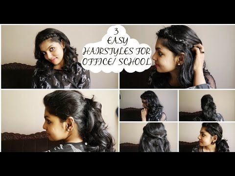 3 Quick & Easy Hairstyles for Work/School - No Heat  I show you three simple, quick and easy hairstyles that is appropriate for work or school/college. All these hair dos take just a minute to create, no heat tools used and will look good on all the outfits. If you have layer cuts and find it difficult to pull up hair into a tie then make sure to watch my pinterest inspired 3 easy hairstyle video. 1. Simple Snake Braid 2. Twist Back Hairstyle 3. Voluminous Ponytail