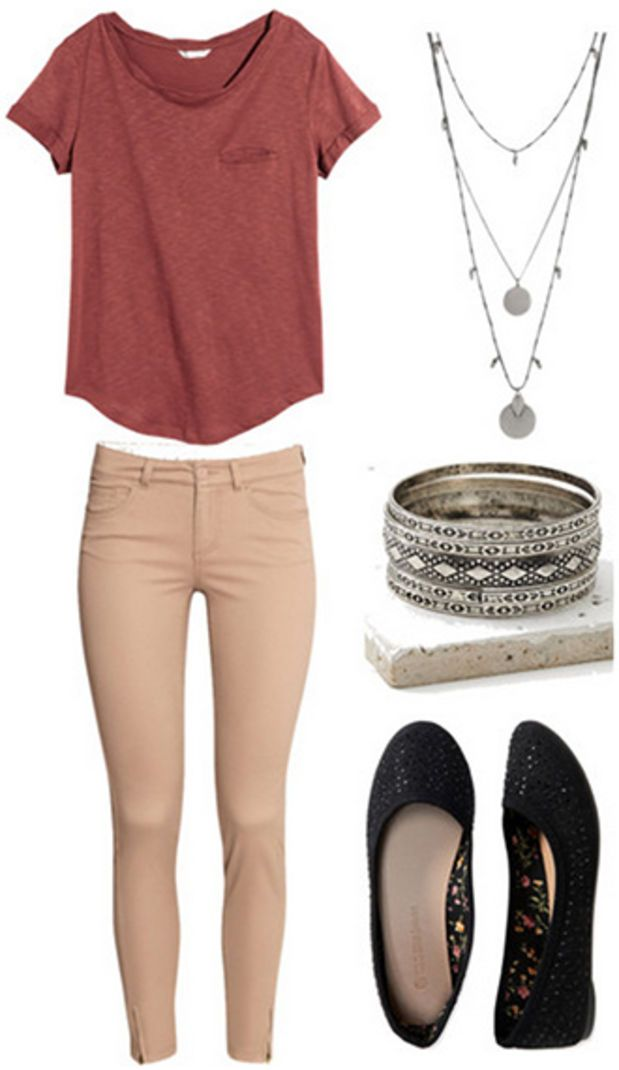Wear your favorite comfy t-shirt with a pair of your slim khakis, and then accessorize it up to make it more professional. Layer necklaces and bangles to finish it off. Finally, throw on your cute flats.