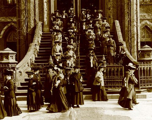 Students leaving, Normal (now Hunter) College/CUNY on Park Avenue, New York - Gilded Age, c.1890.