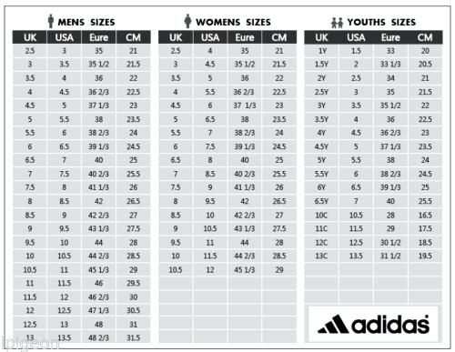 Adidas Men S Shoe Size Chart Cm in 2020