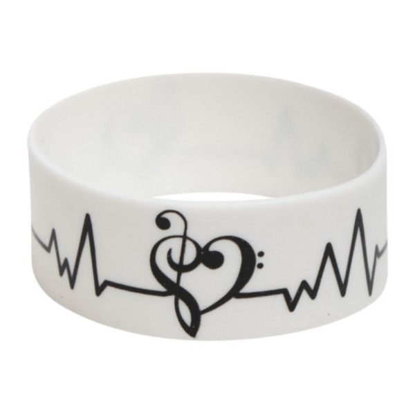 Music Clef Heart Pulse Rubber Bracelet | Hot Topic (£3.30) ❤ liked on Polyvore featuring jewelry, bracelets, rubber bangles, white jewelry, bracelet bangle, rubber bracelet e bracelet jewelry