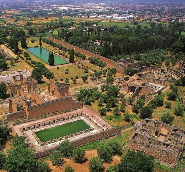 Hadrian's Villa. Tivoli, the classical Tibur,  in Lazio, about 30 kilometres east-north-east of Rome, at the falls of the Aniene river where it issues from the Sabine hills.