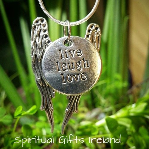 Angel Live Laugh Love Pendant. A gorgeous 2 piece pendant reminding you of the presence of your angelic helpers.  Live, Laugh, Love.  You are God's greatest creation.  Open your heart to divine love.  Its the soul mate you've been searching for.  Comes with a Sterling Silver chain and gift bag.  Pendant Size: 40mm x 25mm