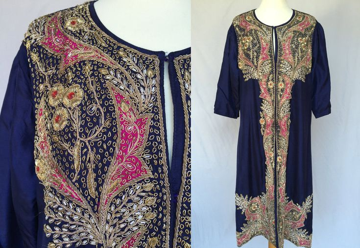 Antique Purple Blue Pink Gold Indian Wedding Dress Satin Silk Hand Embroidered colorful flower embroidery vintage Festive Coat Evening Bride by RosaBoutiqueStudio on Etsy
