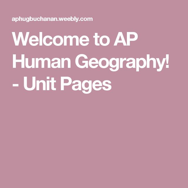 Welcome to AP Human Geography! - Unit Pages