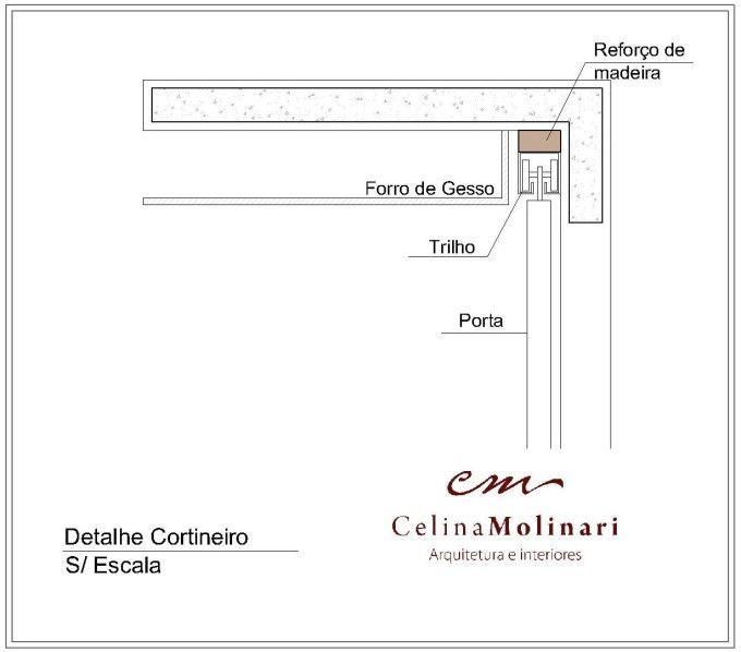 detalhe cortineiro O detalhe abaixo pode ser utilizando tanto para esconder os trilhos de portas de correr, como para dar acabamento em cortinas (cortineiro).