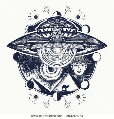 UFO and ancient Egypt tattoo art. Paleocontact concept. Symbol of contact with aliens, ancient astronauts. Spaceship over pyramids of Egypt t-shirt design