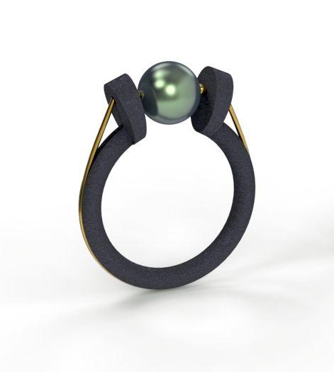 Alberto Dávila - Black cultured pearl & oxidized silver.