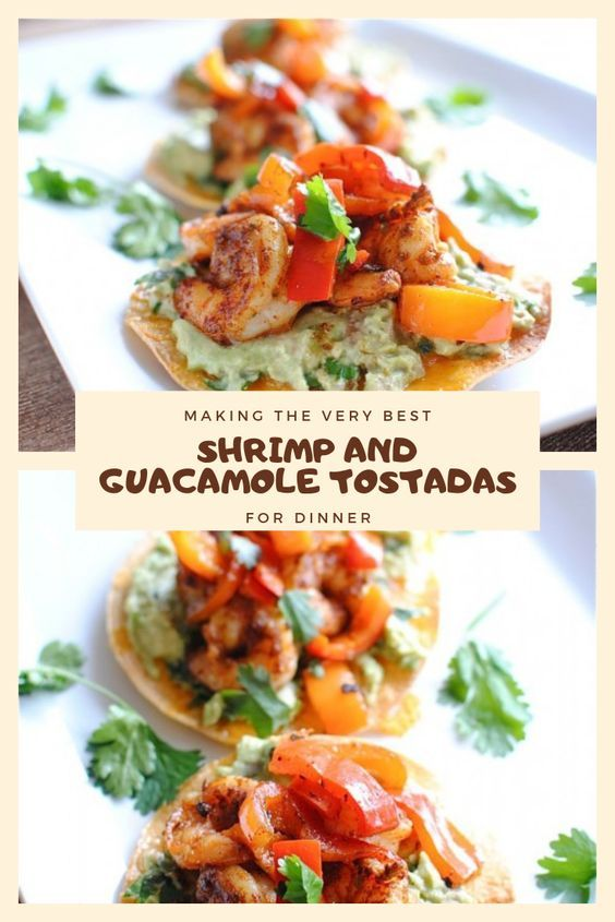 EASY RECIPE SHRIMP AND GUACAMOLE TOSTADAS FOR DINNER #EASYRECIPE #SHRIMP AND #GU…