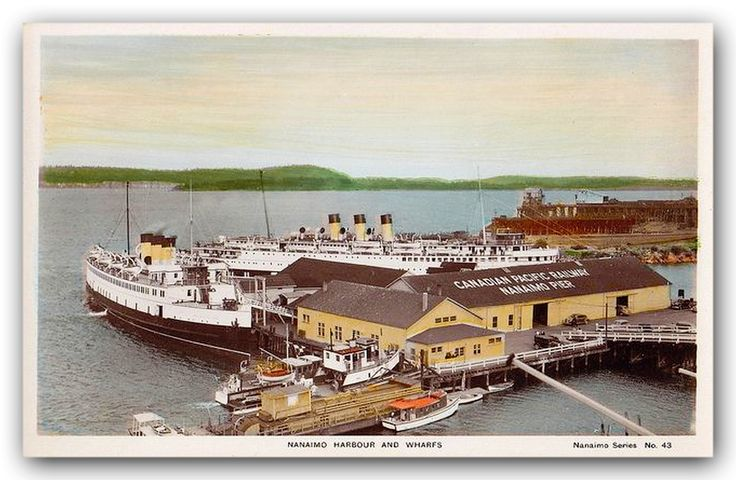 Two ferries at the Canadian Pacific Railway - Nanaimo Pier at their western terminus at Nanaimo circa 1930s tinted postcard.