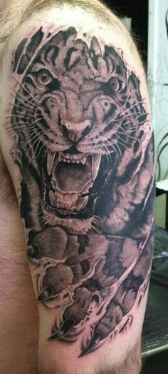 tiger ripping through skin tattoo - Google Search