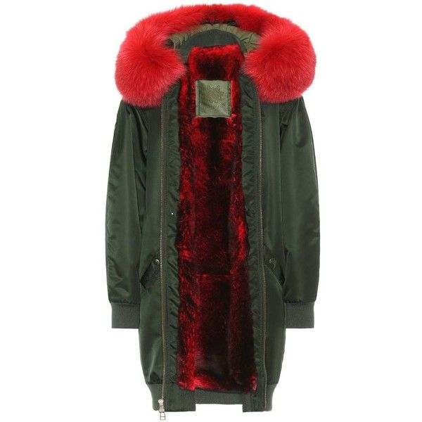 Mr & Mrs Italy Long Bomber Fur-Lined Coat ($4,430) ❤ liked on Polyvore featuring outerwear, coats, jackets, green, long bomber coat, bomber coat, green coat, fur-lined coats and long fur lined coat