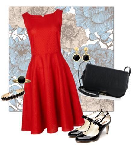 rotes kleid schwarze accessoires meine zusammengestellte kleidung pinterest