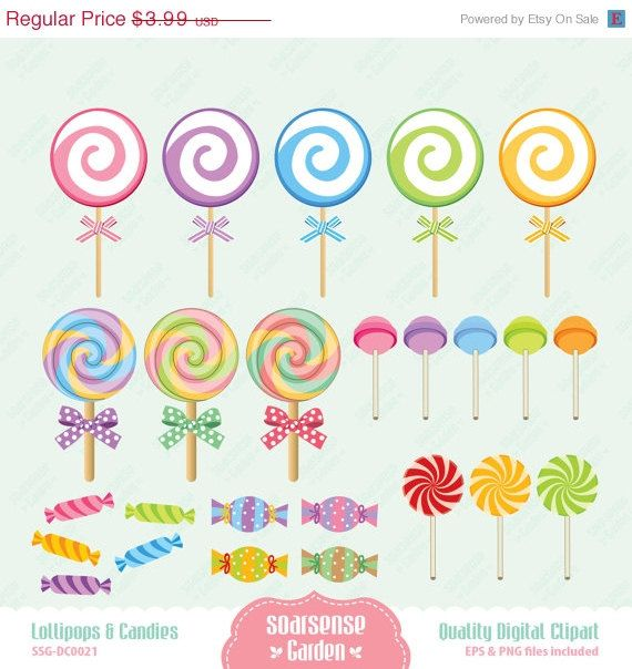 Lollipops and Candies Digital Clipart