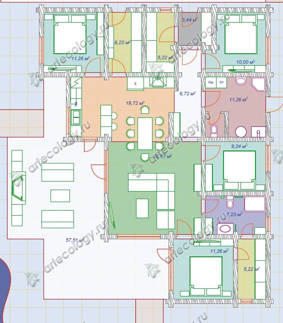 Планировка Классического углового дома 162м2