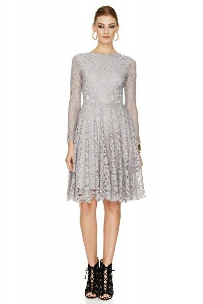Grey Lace Dress by PNK casual #pnkcasual #lace #fashion #cool