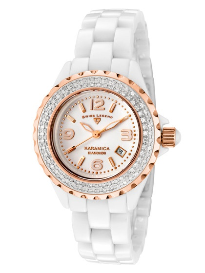 Swiss Legend Watches  Women's Karamica White & Rose Gold Diamond Watch