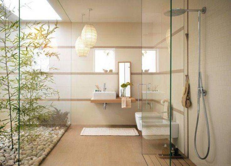 Bathroom Calming Zen Design With Paper Lanterns And Walk In