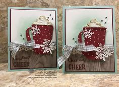 "Merry Cafe Hot Cocoa Mug – Just Sponge It! 1/2"" Gingham Ribbon, Big Shot, Cherry Cobbler, Clear Wink of Stella, Coffee Cups Framelits, Decorative Ribbon Punch, Embossing Paste, Large Letters Framelits, Merry Cafe Stamp Set, Palette Tools, Pool Party, Seasonal Layers Thinlits, Shimmery White cardstock, Wood Textures dsp., Stampin' Up! DIY, Christmas Cards"