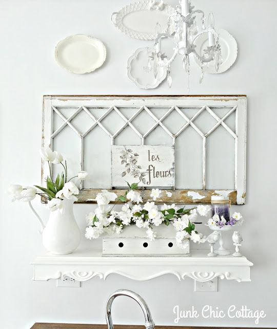Junk Chic Cottage: White on white shelf with pitcher of flowers, etc.