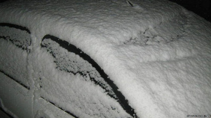 Snow covered car in Vereeniging, south of Johannesburg - amazing!