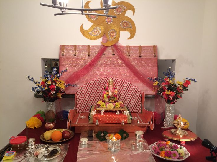 176 best swami decor images on pinterest ganapati for Simple diwali home decorations