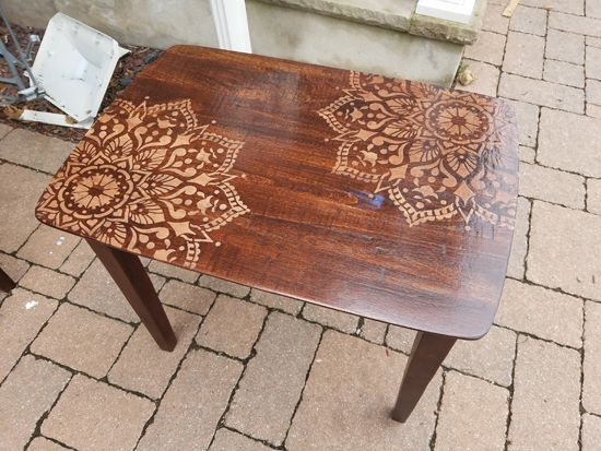 stenciling furniture ideas. learn how to stencil and stain wooden nesting tables using the passion mandala from cutting stenciling furniture ideas