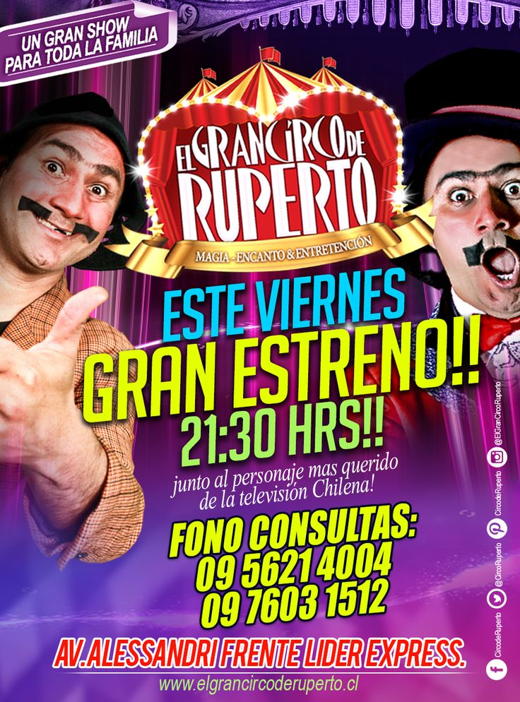 ATENCIÓN!!!! CURICÓ!! ALGO INCREÍBLE ESTÁ POR COMENZAR!! POR PRIMERA VEZ!! 😱EL GRAN CIRCO DE RUPERTO EN TU CIUDAD!!! Un espectáculo para Grandes y Pequeños!! GRAN ESTRENO!! ESTE VIERNES 26 DE MAYO!! A LAS 21:30 HRS. Te esperamos en Avenida Alessandri Frente al LIDER Express!! Ya lo sabes, el personaje mas querido de la Televisión Chilena, en vivo y en directo!! el GRAN RUPERTO y su CIRCO!! VEN A REÍR DE BUENA GANA Y EN FAMILIA!!!☺️ Estará imperdible! Que no te lo cuenten!!