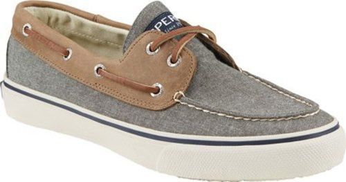 Sperry Top-Sider Men's Bahama 2-Eye Chambray Boat Shoes Olive/Tan